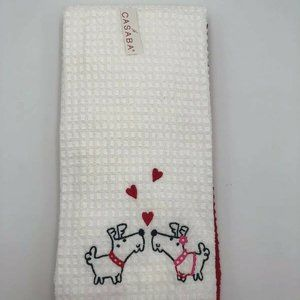 Casaba Kitchen Hand Towel Set Of 2 Red & White New